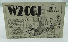 VINTAGE 1950s QSL RADIO HAM POSTCARD W2CCJ RD-1 FREEHOLD NEW JERSEY w/CLOWN*