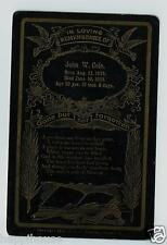 Antique Memorial Funeral Card John W Cole Born Aug 11 1873 / Died June 16 1913