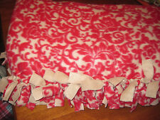 """No sew knotted fleece  blanket throw 50"""" x 92"""" blanket red and beige"""