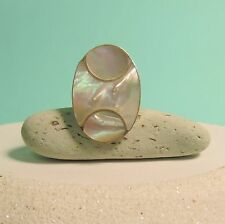 Mother of Pearl Shell Oval 925 Pure Sterling Silver ADJUSTABLE Handmade Ring