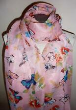 Beautiful Pink with Bright Mult Coloured Butterflies Butterfly Scarf / Wrap  NEW