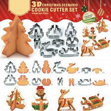 8PCS 3D Stainless Steel Cookie Molds Fondant Cutter Moulds Home Christmas Gift