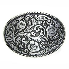 Vintage Silver Flower Floral Style Belt Buckle Cowboy Cowgirl Rodeo Filigree