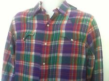 Polo Ralph Lauren Western Style Shirt~Plaid Purple/Orange/Green~Size S~NWT