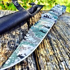 "10.5"" CAMO TACTICAL HUNTING KNIFE Survival Military Fixed Blade Bowie"