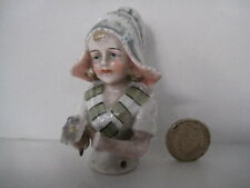 LARGE ANTIQUE HALF DOLL PIN CUSHION NUMBER 5740 BEAUTIFUL DETAIL PORCELAIN CHINA