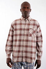 Gas Style Mens Casual Shirt Checked Tartan Brown Yellow Cotton Long Sleeved M L