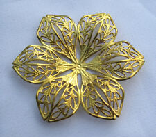Large 42mm Flower Filigree Raw Brass Golden Jewelry Findings bf040 (6pcs)