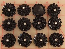 12 vintage black beaded buttons seed beads sequins edge rhinestone center 1.25""