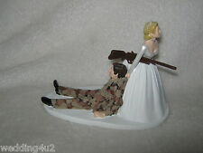 Wedding Party Reception Brown Camo Military Hunter Hunting Cake Topper Gun Rifle