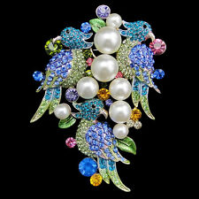 "3.3"" Parrot Bird Animal Faux Pearl Brooch Pin Multi Austrian Crystal Gold GP"