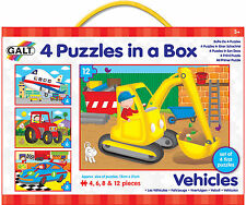 Galt 4 Puzzles In A Box Vehicles Baby/Toddler/Child Jigsaw Shape Sorter BNIB