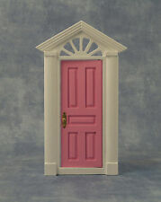 1:12th Pink Painted Wooden Fairy Front Door Dolls House Miniature Accessory 95A