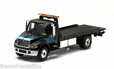 GREENLIGHT 2013 INTERNATIONAL 4400 FLATBED TOW TRUCK BLACK W/ FLAMES 1/64 33010C