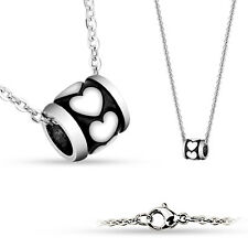 Shiny Heart on Black 316L Stainless Steel Pendant with Chain Necklaces