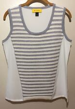 RT 2012 St John Collection Silk w/ Contrast Wool Stripes Blouse Shell Tank Top S