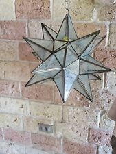 """Moravian Star -18"""" glue chip glass  18 point with canopy"""