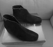 La Canadienne Black Suede Booties w/Black Leather Trim, Wedge Sole, Size 7M