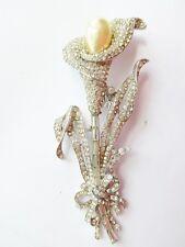 """Rare vintage 1940 crown Trifari Philippe 4"""" lge Calla Lily rhinestone clip pin"""