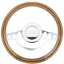1974 - 1994 Chevy Pick Up C/K Series Cool Chrome and Oak Steering Wheel Full Kit