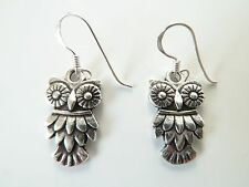 925 Sterling Silver Owl Bird Dropper Earrings Vintage Antique New & Boxed