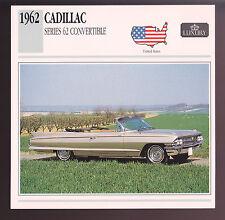 1962 Cadillac Series 62 Convertible Car Photo Spec Sheet Info Stat ATLAS CARD