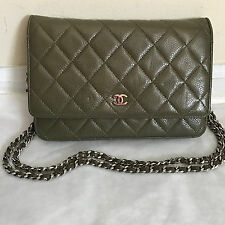 Authentic Chanel Olive Green Soft Caviar WOC Wallet On a Chain bag