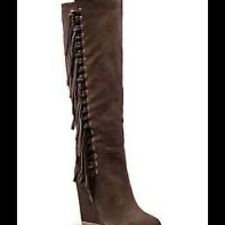New Coach Dollie Suede Leather Fringe Chestnut Brown Wedge Knee Boots 5.5 B M