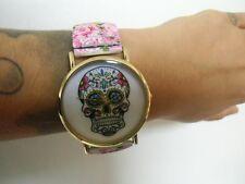 Montre fantaisie crane tete mort mexicain fete des morts bracelet élastique rose