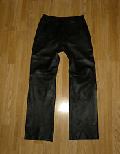 Super  Black Genuine Leather WOODLANDS Zip Straight Leg Biker Pants Size 12 / 38