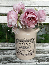 VINTAGE DESIGN ENAMEL DUSKY PINK CHURN / FLOWER VASE CHIC ROSE COUNTRY GARDEN
