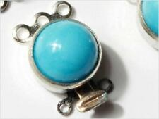 (5) Vtg Czech 3 strand silver tone baby blue cabochon necklace clasp closers