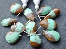 HAND FACETED CHRYSOPRASE MATRIX DROPS, 15x24mm - 16x26mm, 11 beads
