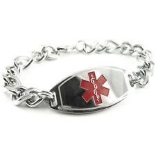 MyIDDr - Mens - Pre Engraved DIABETES TYPE II Medical Bracelet, Free ID Card