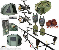 COMPLETE CARP FISHING SET UP 2 X RODS REELS ALARMS BAG + NGT FORTRESS BIVVY TENT