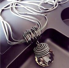 Round Jewelry Chain Pendant Crystal Choker Chunky Statement Bib Necklace Fashion