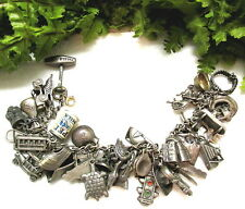 VTG. STERLING CHARM BRACELET 41 CHARMS FRED HARVEY ARMY WESTERN ANIMALS MOVEABLE