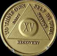 15 Year AA Medallion Alcoholics Anonymous Sobriety Chip Bronze XV Fifteen Coin