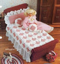 """UNIQUE BED SET""~Crochet PATTERN~PATTERN ONLY fits BARBIE FASHION DOLL"