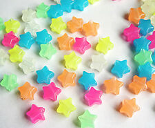 Stars Multi Colors Glow in Dark Pony Beads 100pc for jewelry kandi party beading