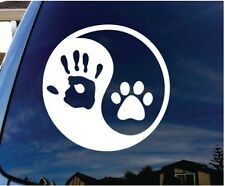 Yin Yang human hand and dog paw sticker decal for cars