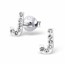 Childrens Ladies Sterling Silver Initial J Stud Earrings with Clear Crystals