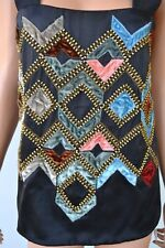 NEW ETRO $1,550 SILK BEADED EMBELLISHED OPEN BACK BLOUSE SHIRT TOP 40 6