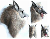 Creepy Wolf Latex Head Mask Cosplay Animal Halloween Party Costume Theater Prop