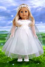 Little Angel - 18 inch Doll Clothes, Satin Communion Dress Veil Gloves Shoes