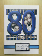 Hand-Made Male 80th Birthday Card -Can be Personalised