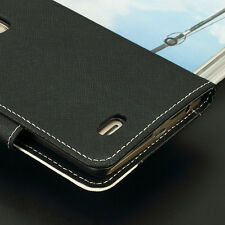 Magnetic Flip Wallet Card Stand PU Leather Case Cover  For LG G3 PHONE BLACK