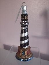Old World Cape Hatteras Lighthouse Glass Ornament