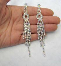 Silver Plated Iridescent Rhinestone Crystal Dangle Earrings # 645 Bridal Prom