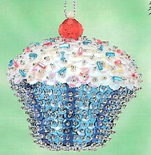 "Kit makes 2 ""Blue Confetti Cupcake"" Bead & Sequin Ornaments Christmas NEW"